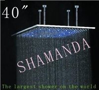 Free Shipping 40 inch LED shower head with stainless steel 1000*1000 self powered led shower head light shower three color 20022
