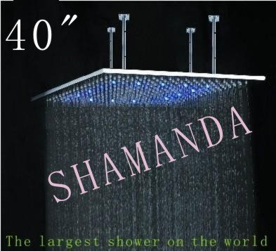 Free Shipping 40 inch LED shower head with stainless steel 1000*1000 self-powered led shower head light shower three color 20022