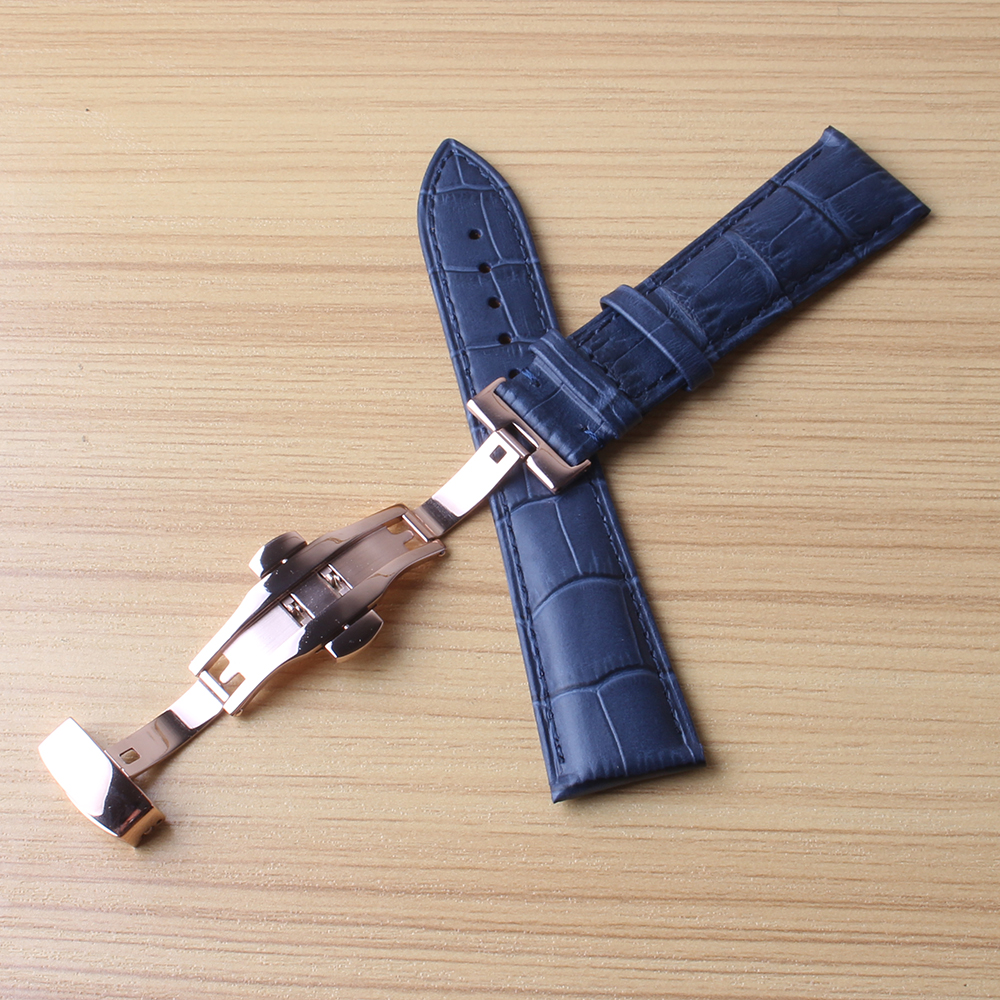 Watchbands 18 20mm 22mm Man Women Real Calf Leather Blue Watchband Handmade Stitches Wrist Watch Band Strap Belt rosegold Clasp