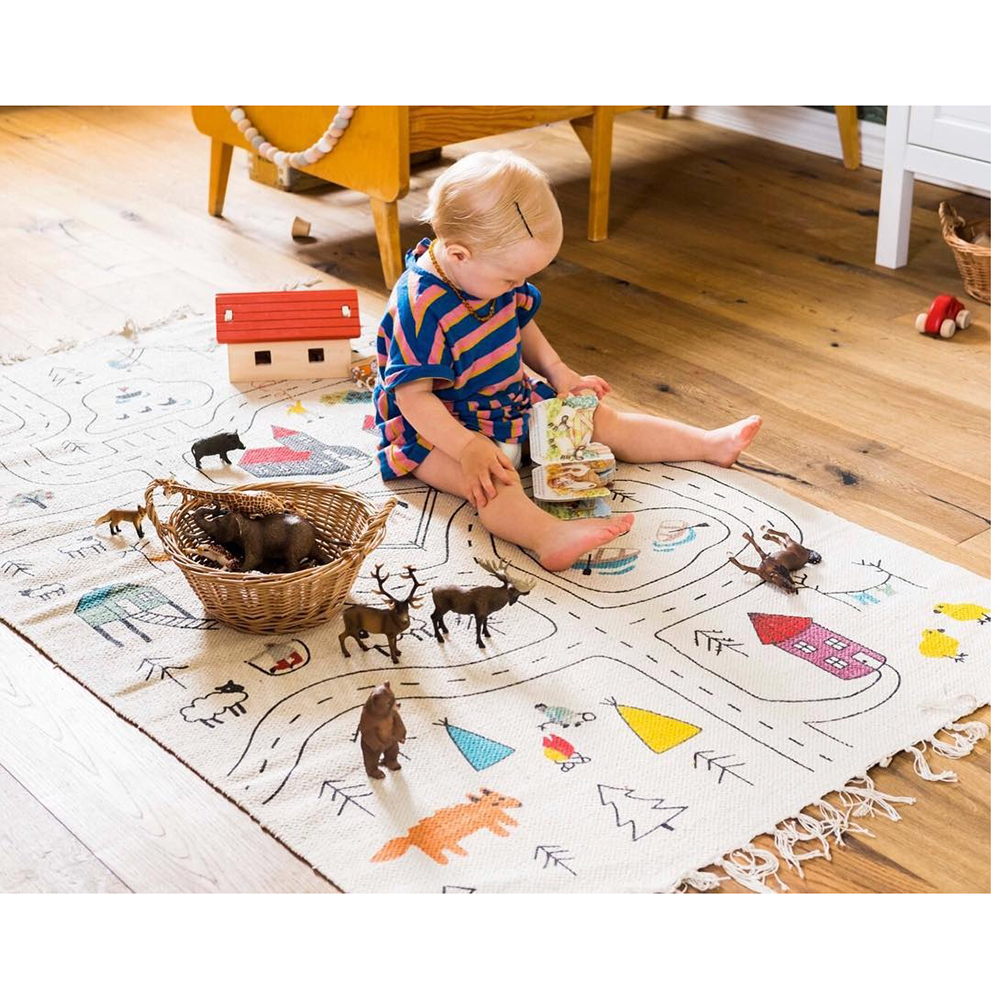 New 70*140CM Kids Rug City MAP Area Rug ' Children Area Rug Playroom & Nursery For Home Baby Gym Mats