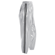 Striped Casual Sweatpants Silver Dancing Women Pants High Waist Fashion Hip Hop Trousers Female Loose Pants