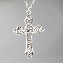 Cross Necklaces & Pendants Alloy Gothic Jewelry Antique Silver Cross Vintage Pendant Necklace Charms Women Girl Gift New kcchstar bk 5233 cross pendant artificial diamond alloy necklace silver