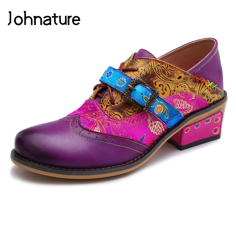 Johnature 2019 New Spring autumn Handmade Retro Genuine Leather Round Toe Flower Sewing Mary Janes Women