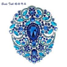 4.9 «Мода Огромный Падения Броши Синий Горный Хрусталь Кристалл Большой Цветок Брошь Pin Свадебные Серебряный Тон Бижутерия 4045