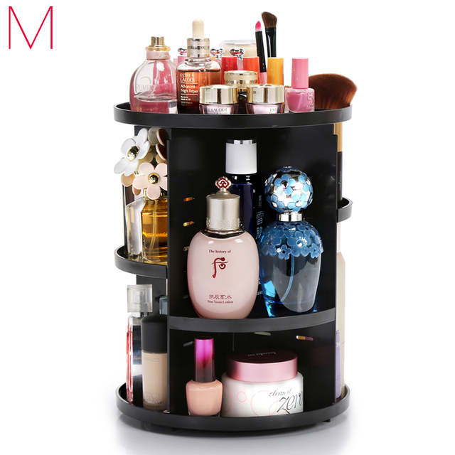 M Plastics Rotating Cosmetic Holder New Fashion Makeup Organizer Black  Girls Accessories Storage Lipstick Storage Box