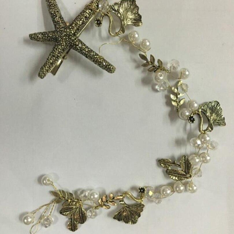 Cerchietto Corona Oro Antico Nuziale Capelli Barocco Tiara Crystal foglie