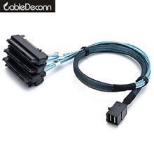 Sas sata 케이블 SFF 8643 내부 미니 SAS HD (4) 29pin SFF 8482 커넥터 SAS 15pin 전원 포트 12 기가바이트/초 케이블