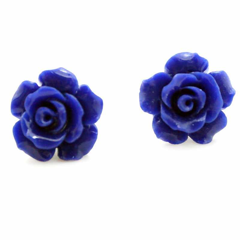 lady's 12mm Lapis lazuli Carved Rose Flower 925 Sterling Silver elegant Earring Silver natural gem/stone/coral/opal Marcasite