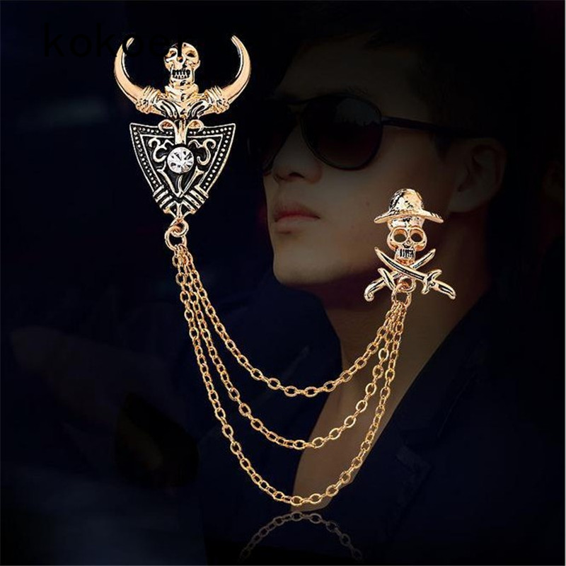 2017 New Arrive High-grade Pin Brooches skull Cross Soviet Union Tassel Chain For Men Suit Jewelry Skull Head Lightning Brooch