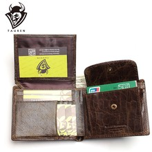 2019New Small Vintage Wallet Brand High Quality Vintage Designer 100% Genuine Crazy Horse Cowhide Leather Men Short(China)