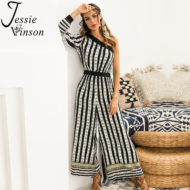 82f1ebef23e Jessie Vinson Boho Printed Long Sleeve One Shoulder Wide Leg Long Pants  Jumpsuit Women Off Shoulder Bohemian Striped Romper
