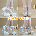custom made Ankle Straps   white pink handmade ankle straps by beading crystal pearl flower