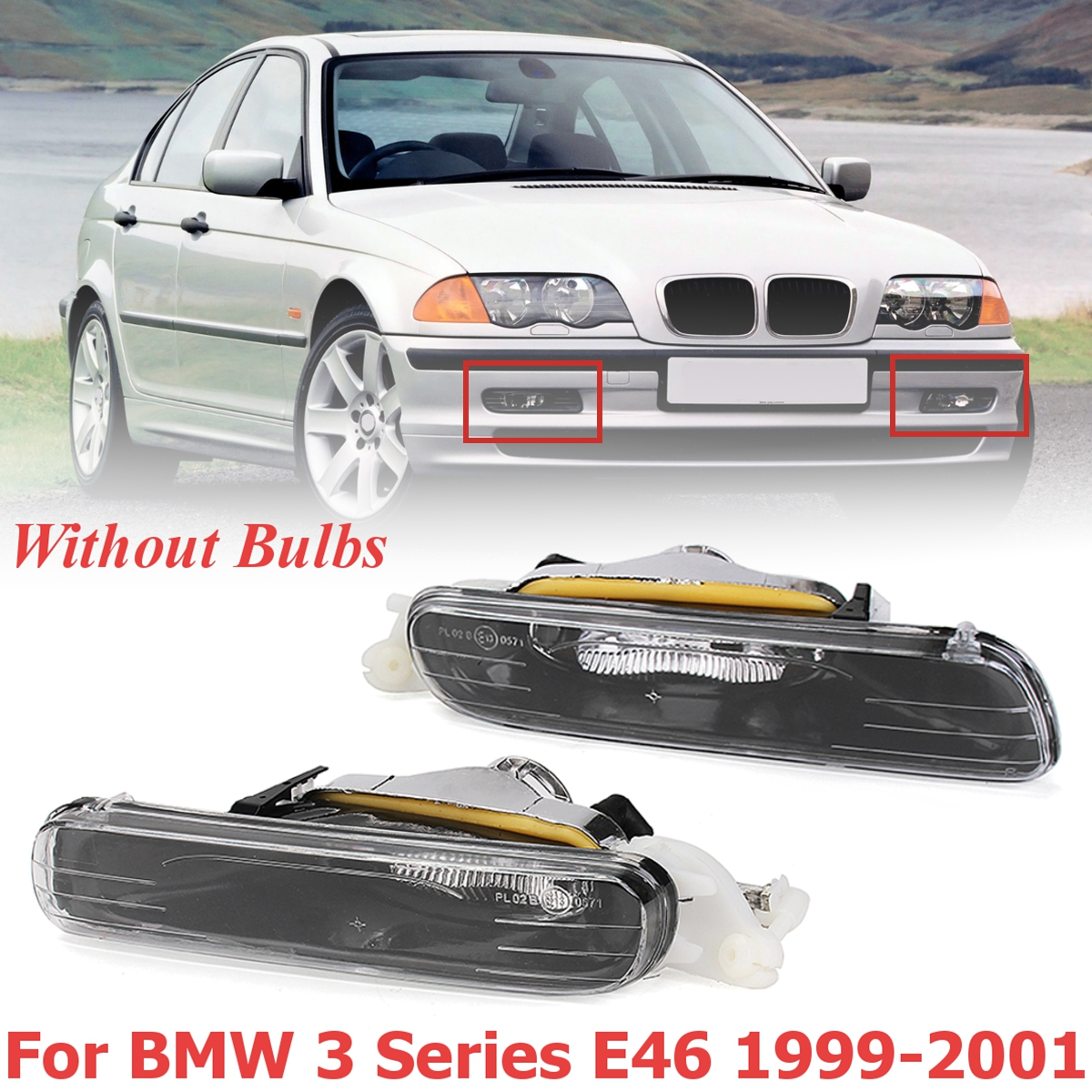 for BMW 3 Series E46 1999 2000 2001 1 Pair Front Bumper Halogen Fog Lights Lamps Without Bulb Car Styling Replacment nicecnc one pair car bumper fog lights front lamps left