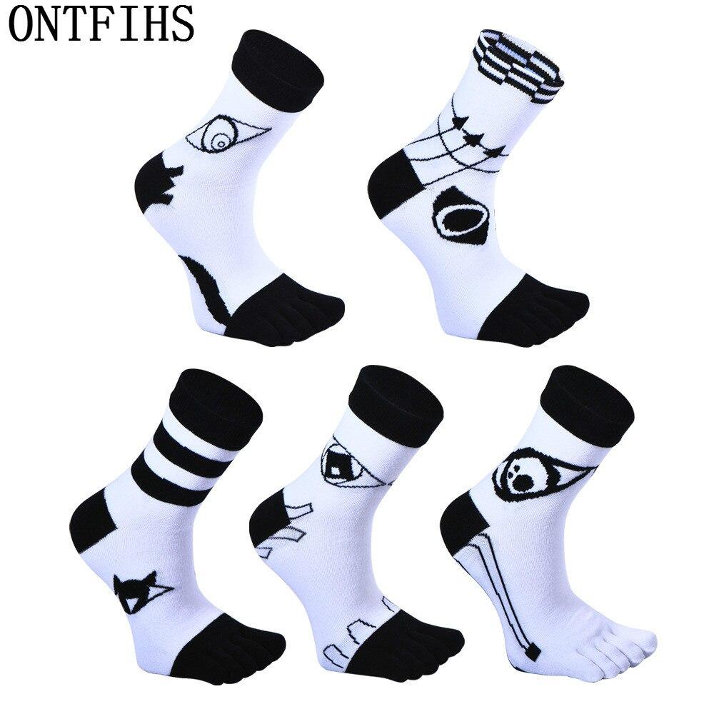 ONTFIHS Five Finger Toe Socks Novelty Men Funny Socks Male Fashion Brand Man Casual Combed Cotton Sox Business Socks T-45