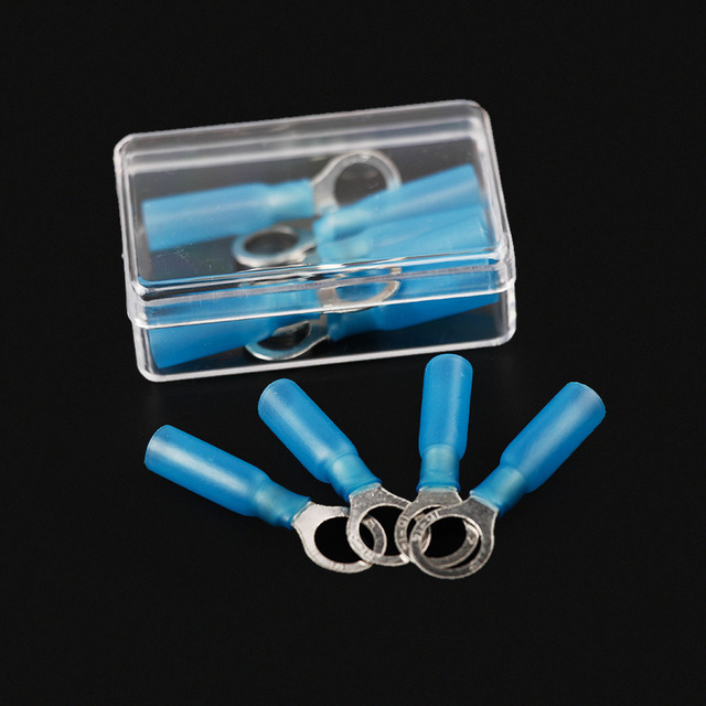 10PCS Insulated Ring Eye Crimp Terminals Blue M8 Heat Shrink Wire ...