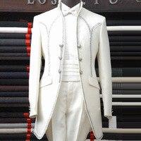 Plus Size Men Suits ( Jacket + Pants ) S 4XL 2016 Men's Groom wedding dress male royal formal dress royal clothing suits set
