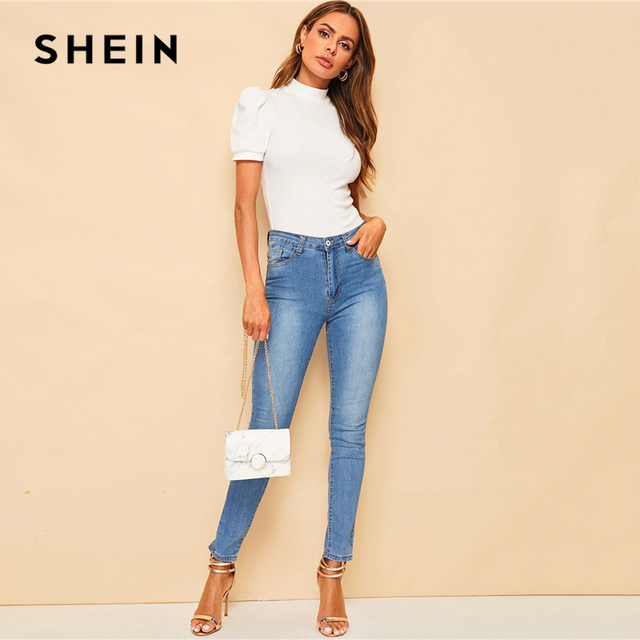 SHEIN Office Lady White Mock-neck Puff Sleeve Solid Top T Shirt Summer Solid Basic Short Puff Sleeve Elegant Tshirt Ladies Tops 2