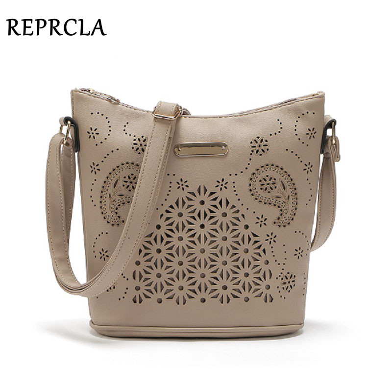 REPRCLA Hollow Out Women Bucket Tasker Vintage Shoulder Bag Crossbody High Capacity Women Messenger Tasker Ladies Håndtasker