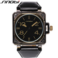 Sinobi Brand Men Leather Square Climb Cool Watch Waterproof Military Watches Fashion Stylish Men Wristwatch Clock Reloj Hombre