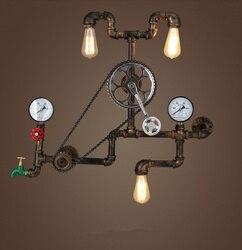 Kinkiety w stylu vintage Loft koło przemysłowe fajka wodna ściana światło Retro oprawa oświetleniowa dla restauracja/bar jadalnia