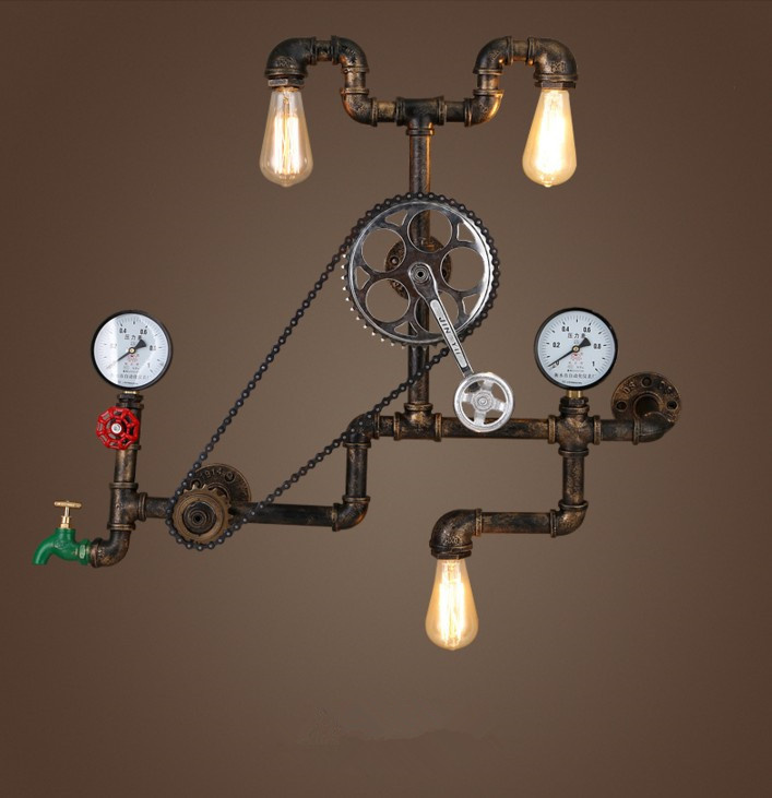 Vintage Wall Lamps Loft Industrial Wheel Water Pipe Wall Light Retro Lighting Fixture for Restaurant Bar dinning room|LED Indoor Wall Lamps|Lights & Lighting - title=