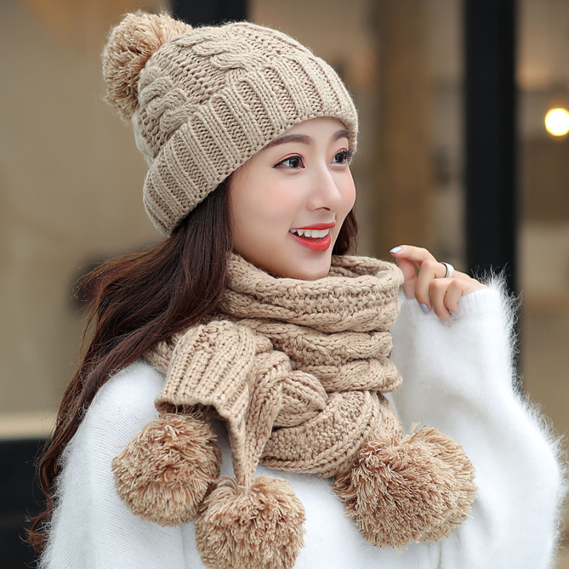 HT2130 Winter Hat Scarf Sets Big Pompoms Ball Women Hat Scarf Ladies Knitted Beanie Hat Scarf Set Casual Winter Accessories Sets