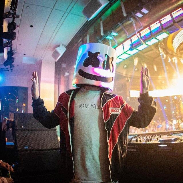 Косплей DJ Marshmello ночной клуб белая улыбающаяся маска-шлем для лица Аксессуары к костюму для Косплей полная голова латексная Опора Маска на Хэллоуин