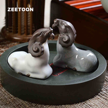 2 шт./лот чайный набор кунг-фу ручной работы ремесленные фигурки керамика GE kiln 1 пара фиолетовая глина Коза чай ПЭТ домашний декор шкаф орнамент