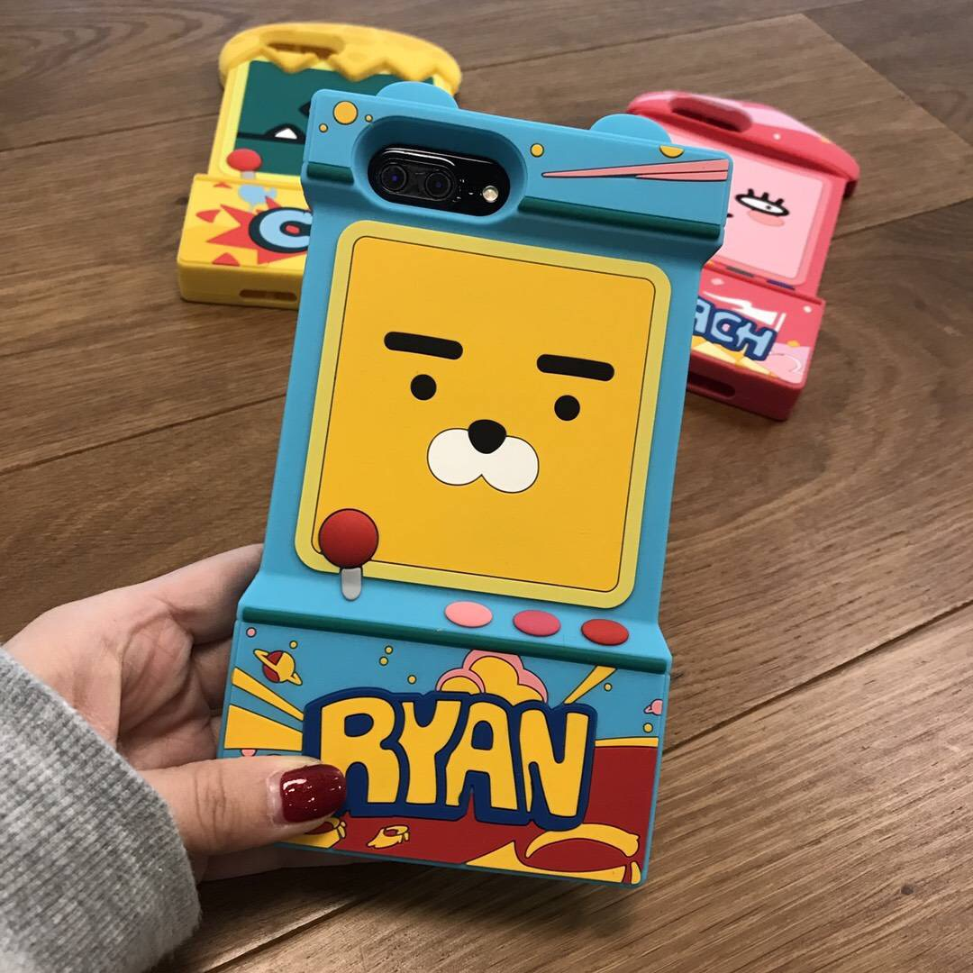 For Apple iPhone X 8 7 6 6s plus silicoe case 3D Kakao games cartoon ryan lion full cover case soft kids anti-knock phone fundas