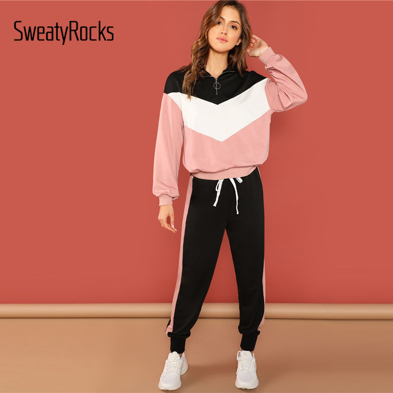 SweatyRocks Casual Colorblock Pullover And Pants Set Stand Collar Long Sleeve Top Tapered Pants 2018 Autumn Women 2 Piece Set
