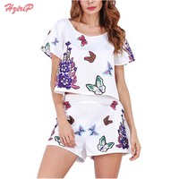 HziriP Women 2 Piece Set Ladies Shorts Set Suits Flower Printed Crop Tops T Shirts And