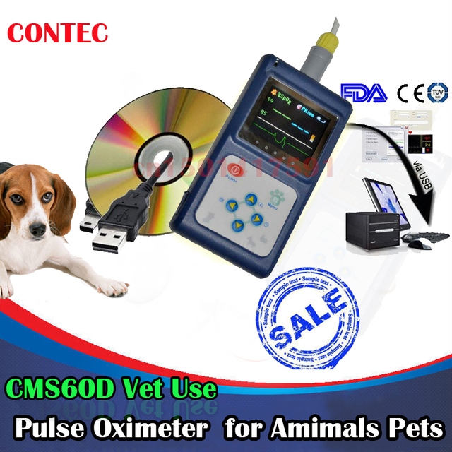 USA Stock, 2-5 days delivery, Veterinary US Stock Vet Use CMS60D Handheld Pulse Oximeter Oxygen SpO2 Monitor PC SoftWare