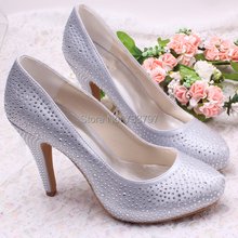 Spring and Autumn Thick Heel High-Heeled Studded Shoes Silver Platform Wedding Dress