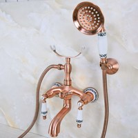 Antique Red Copper Brass Double Ceramic Handles Wall Mounted Bathroom Clawfoot Bathtub Tub Faucet Mixer Tap w/Hand Shower ana367
