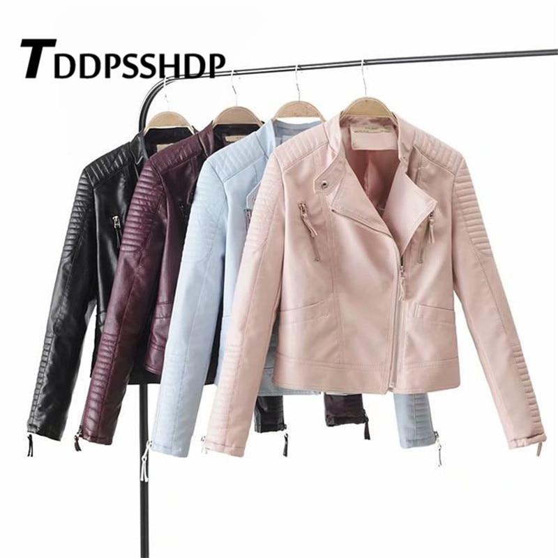 Stripe Engraving Solid Color Women Pu   Leather   Jacket Pink Blue Burgundy Black Color Female Coat