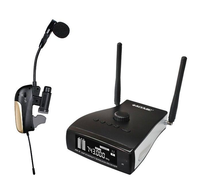 ACEMIC Verdadeira Diversidade UHF Sem Fio Profissional Sistema de Microfone Gooseneck clipe Trompete Saxofone Saxo Mic com caixa de alumínio