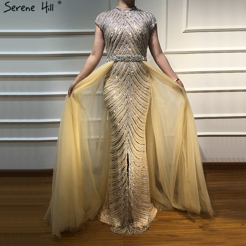 Dubai O-Neck Sleeveless Beading Evening Dresses 2019 Latest Design Nude Sexy Mermaid Evening Gowns Serene Hill LA60777(China)