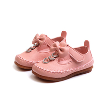 Leather Shoes Kids Girls Sneakers Pink Glitter Shoes Bow Princess Flats Rhinestones Children Dress Shoes For Toddler Girls 2019 цена 2017