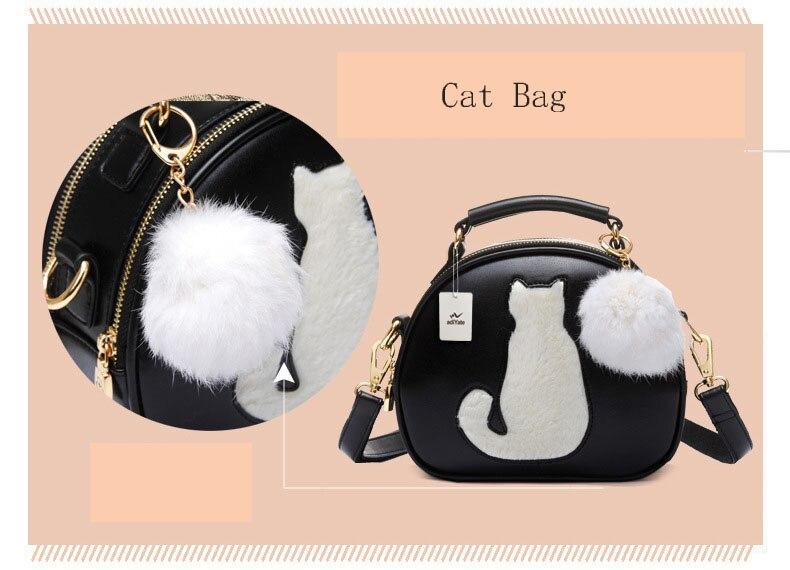 Women Small Handbags Cute Cat Small Round Bags Kitten Fur Messenger ... 1b32c44b565e5