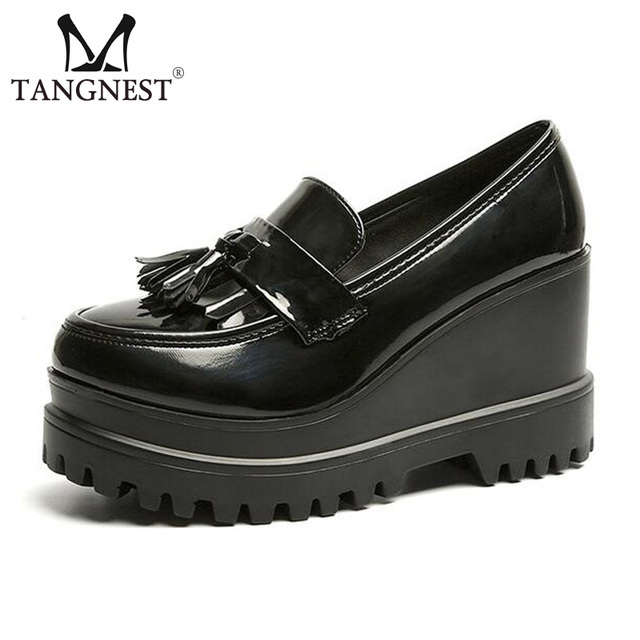 7afeb81acd90 Tangnest NEW 2018 Patent Leather Platform Shoes Fashion Tassel 9.5 CM  Increasing Shoes Slip-on Creepers Women Oxfords XWD6036