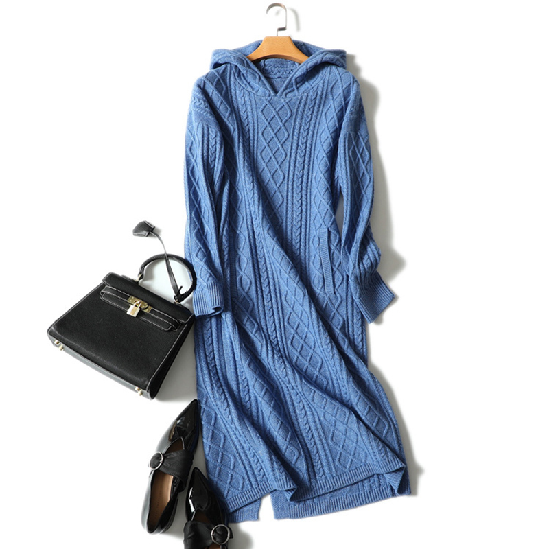 New Cashmere Wool Dress Woman Winter Long Sleeves Rib Knitted Hood Sweater Dresses With Pocket Thick