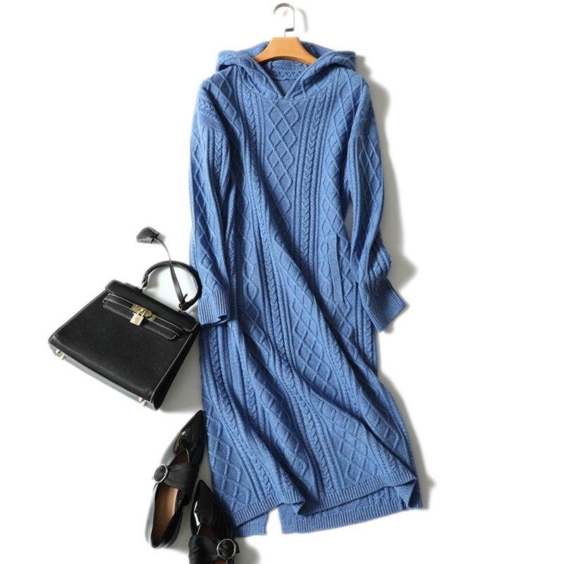 새로운 캐시미어 울 드레스 여자 겨울 긴 소매 리브 니트 후드 스웨터 드레스 포켓 두꺼운 따뜻한 플러스 사이즈 숙녀 드레스-에서드레스부터 여성 의류 의  그룹 1