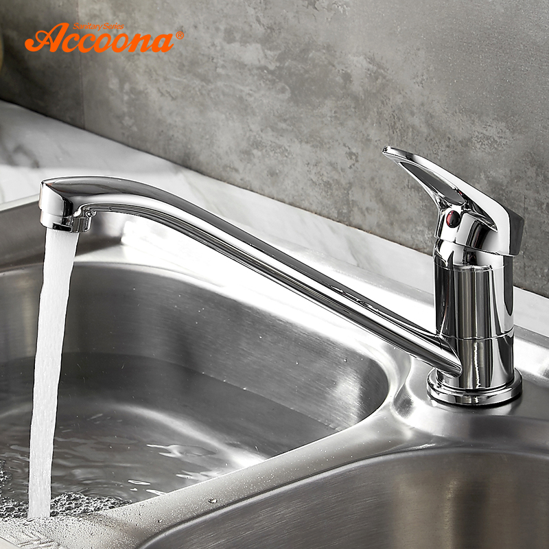 Accoona Kitchen Faucet Classic Pull Out Modern Polished Chrome plated Single Handle Swivel Spout Vessel Sink Mixer Tap цена 2017