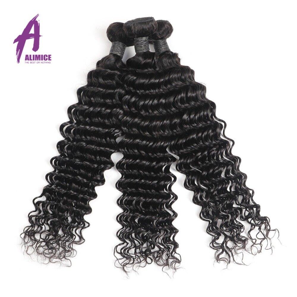 Alimice Peruaanse Haarbundels Diepe Golf Human Hair Extensions 100% - Mensenhaar (voor zwart) - Foto 6