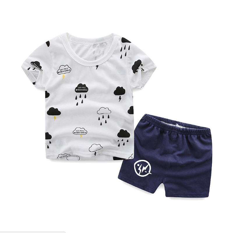 2018 Kids Set Children Cartoon Print T-shirt+Shorts 2 pcs Clothing Sets Summer Sport Suit Sets For Baby Boys Girls Toddler Suits