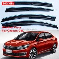 tommia Brand New For Citroen C4L Window Visor Shade Vent Wind Rain Deflector Guards Cover 4pcs/Set
