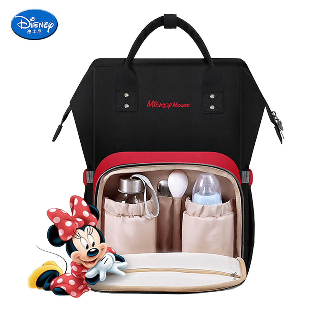 Disney Diaper Bag Backpack Large Capacity Maternity Mummy Bag Travel Backpack Baby Care Baby Nappy Bag USB  Bottle Heating