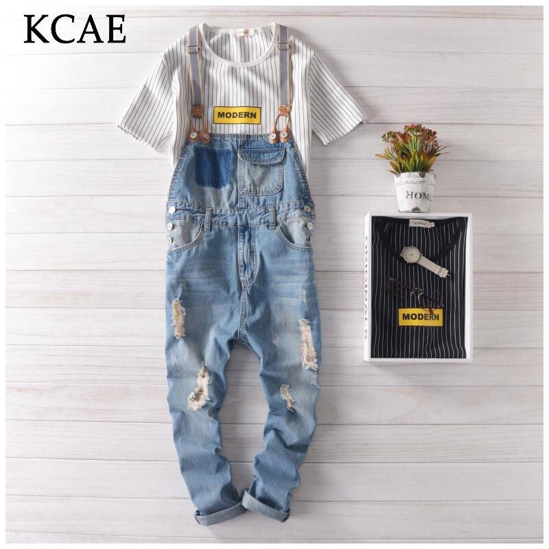 ФОТО Jeans Men Brand New 2016 Men Designer Jeans Hip Hop Pants Denim Overalls Mens Overalls Fashion Long Suspender Pants