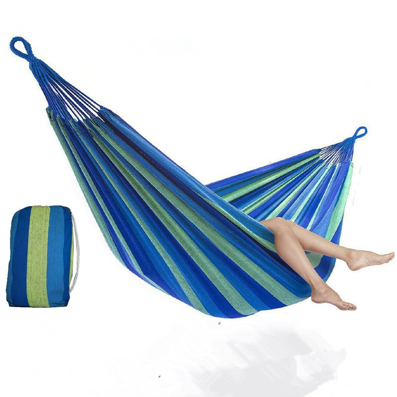 1pcs Portable Hammock Outdoor Hammock Garden Sports Home Travel Camping Swing Canvas Stripe Hang Bed Hammock Red Blue 190 x 80cm promotion hot sale portable 190 x 80cm outdoor hammock outdoor sports travel camping swing canvas stripe hang bed e5m1