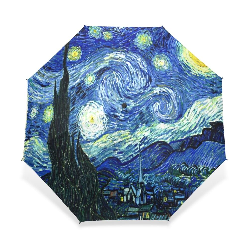 크리 에이 티브 그림 별이 빛나는 밤 우산 반 고흐 유화 3 접는 맑은 비오는 우산 소녀를위한 안티 UV 우산